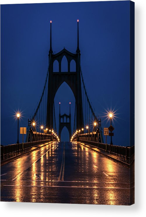 St Johns Bridge Acrylic Print featuring the photograph St Johns Bridge Shine by Karen McClymonds