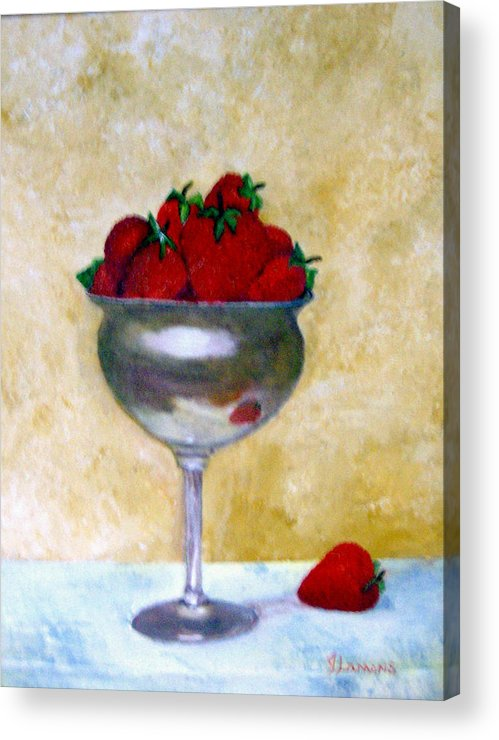 Still Life Acrylic Print featuring the painting Strawberry Feast by Julie Lamons