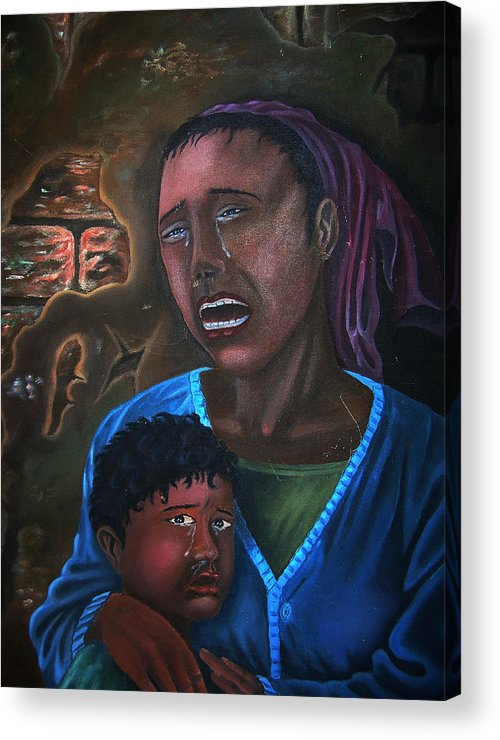 Haitian Fine Art Acrylic Print featuring the painting Struggle And Pain by Pierre Etienne
