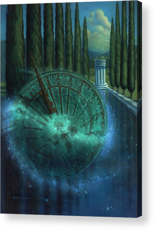 Sundial Acrylic Print featuring the painting Sundial Of Antiquity by Brigit Byron Coons
