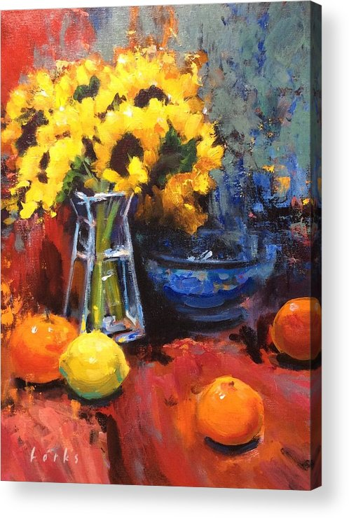 Sunflowers Acrylic Print featuring the painting Sunflowers And Oranges by David Forks