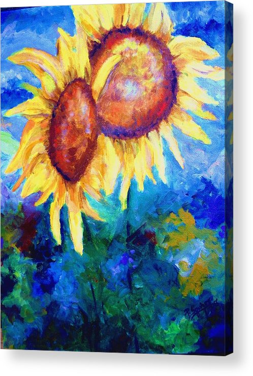 Flowers Acrylic Print featuring the painting Sunflowers by Pamela Squires