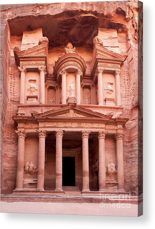 Red Acrylic Print featuring the photograph The Ancient Treasury Petra by Jane Rix