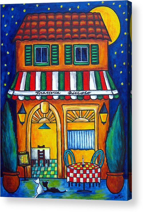 Blue Acrylic Print featuring the painting The Little Trattoria by Lisa Lorenz