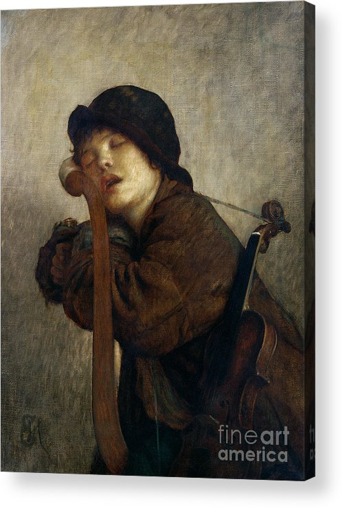 Boy Acrylic Print featuring the painting The Little Violinist Sleeping by Antoine Auguste Ernest Hebert