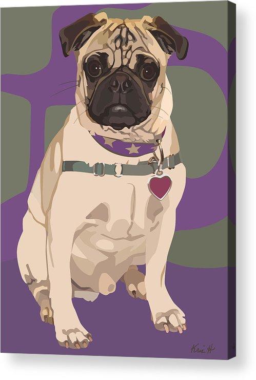 Pug Acrylic Print featuring the digital art The Love Pug by Kris Hackleman