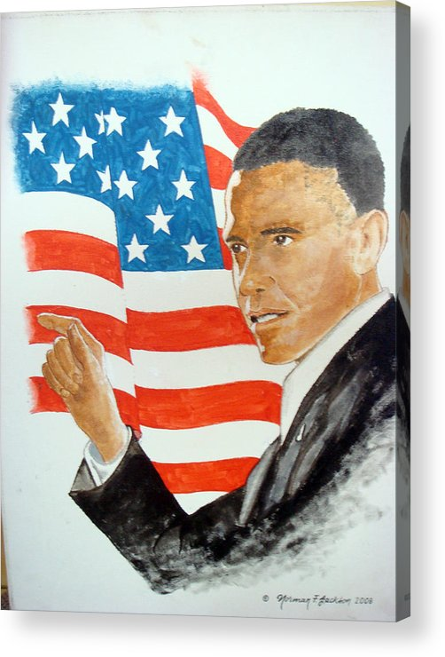 Obama Acrylic Print featuring the painting The New America by Norman F Jackson
