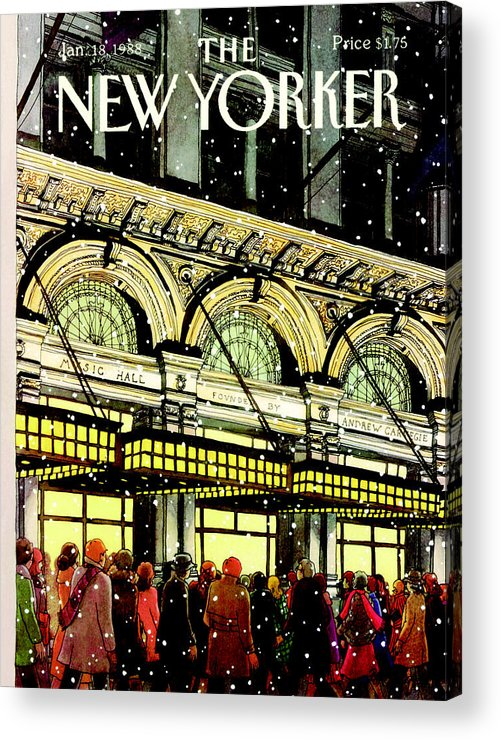 Urban Acrylic Print featuring the painting The New Yorker Cover - January 18th, 1988 by Roxie Munro