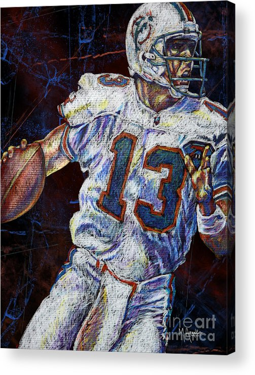 Dan Marino Acrylic Print featuring the drawing The Shotgun by Maria Arango
