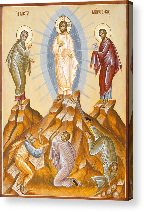 Transfiguration Acrylic Print featuring the painting The Transfiguration Of Christ by Julia Bridget Hayes