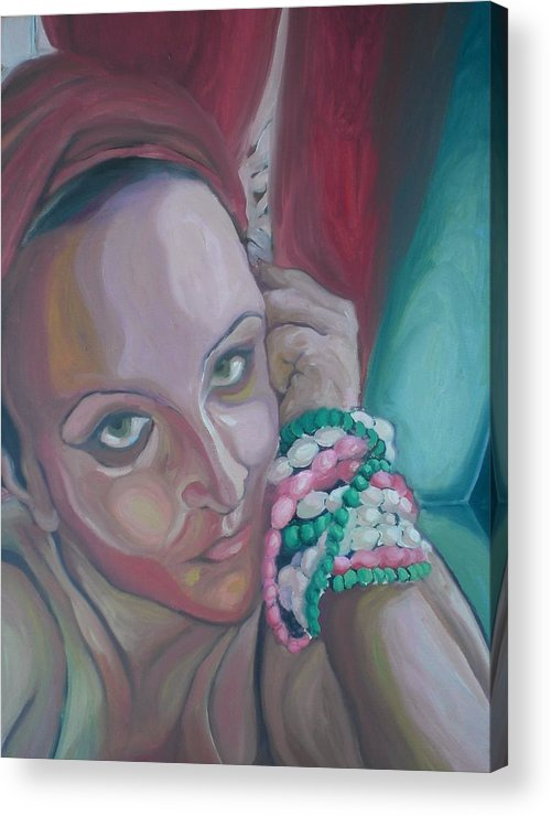 Selfportrait Acrylic Print featuring the painting Thinking Of You by Aleksandra Buha