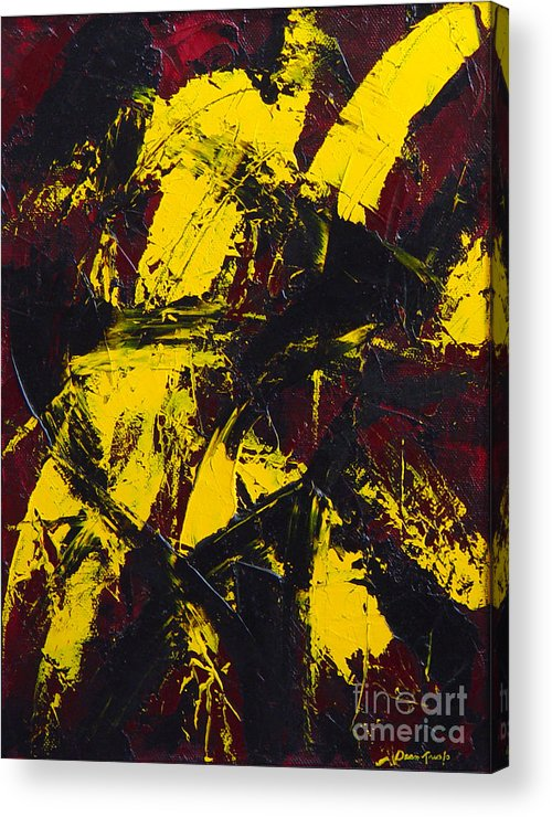 Abstract Acrylic Print featuring the painting Transitions With Yelllow And Black by Dean Triolo