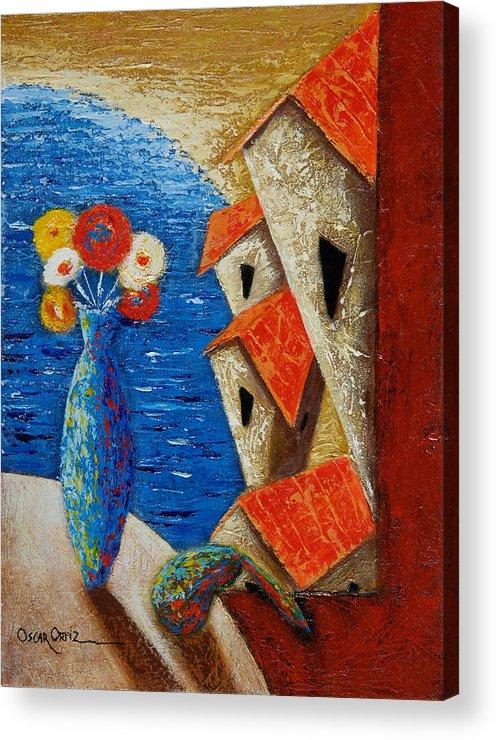 Landscape Acrylic Print featuring the painting Ventana Al Mar by Oscar Ortiz