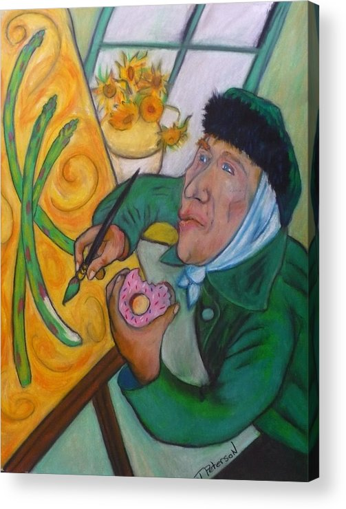 Crayon Acrylic Print featuring the painting Vincent And The Asparagus by Todd Peterson