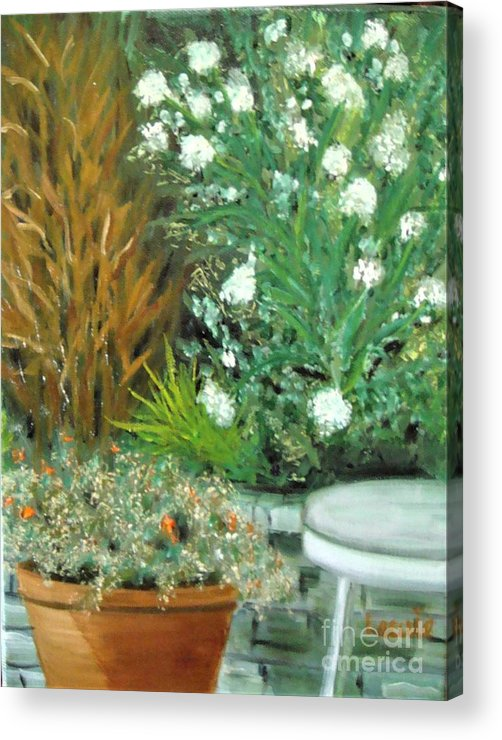 Plein Air Acrylic Print featuring the painting Virginia's Garden by Laurie Morgan
