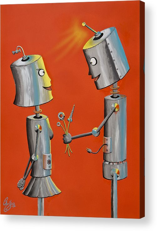 Robot Acrylic Print featuring the painting Wanna Screw by Chris Fifty-one