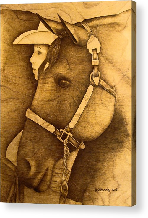 Pyrography;wood Burning; Horse; Western; Halter;cowboy; Hat; Rodeo; Acrylic Print featuring the pyrography Watching The Competition by Jo Schwartz