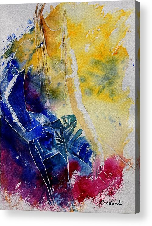 Girl Nude Acrylic Print featuring the painting Watercolor 21546 by Pol Ledent