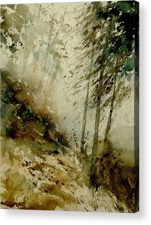 Landscape Acrylic Print featuring the painting Watercolor Misty Atmosphere by Pol Ledent
