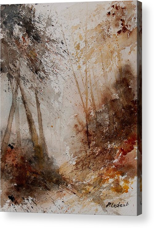 Landscape Acrylic Print featuring the painting Watercolor Misty Path by Pol Ledent