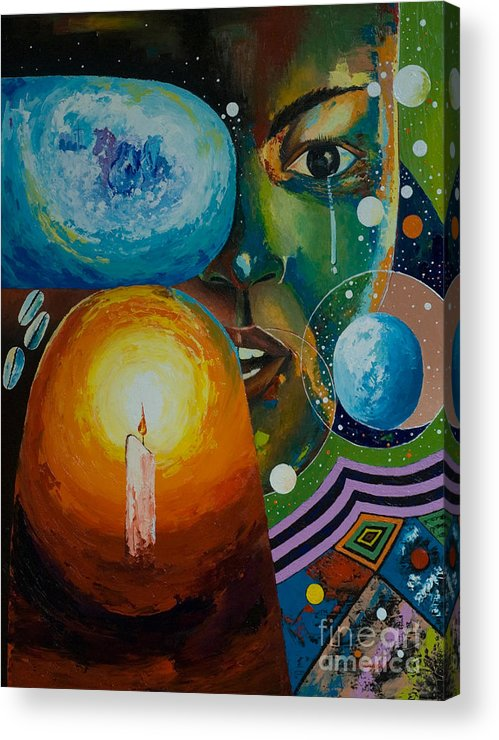 Acrylic Print featuring the painting Weep Not Child by Alfred Awonuga