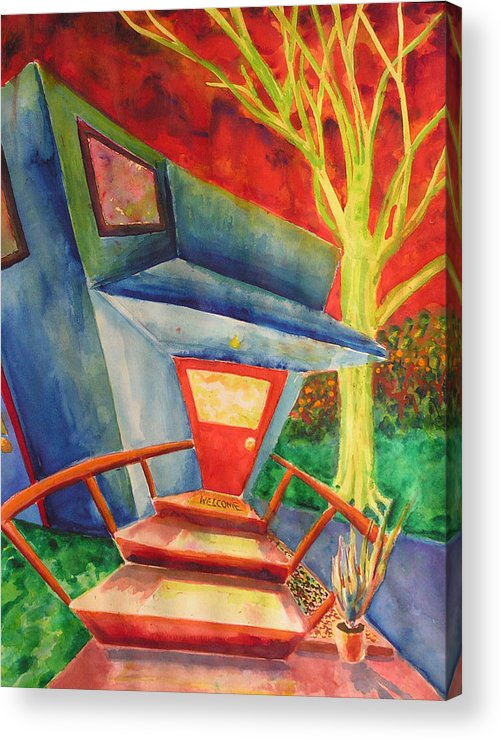 Watercolor Acrylic Print featuring the painting Welcome Home by Mark Sharer