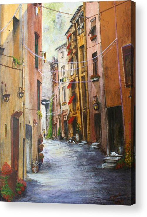 Street Acrylic Print featuring the painting White Cat Lane by Jan Lowe