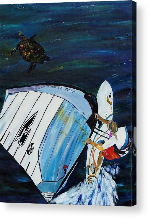 Windsrfing Acrylic Print featuring the painting Windsurfing And Sea Turtle by Gregory Allen Page