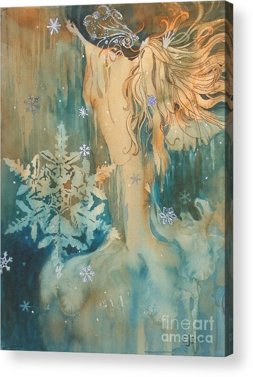 Blue-green Acrylic Print featuring the painting Winter by Elizabeth Carr
