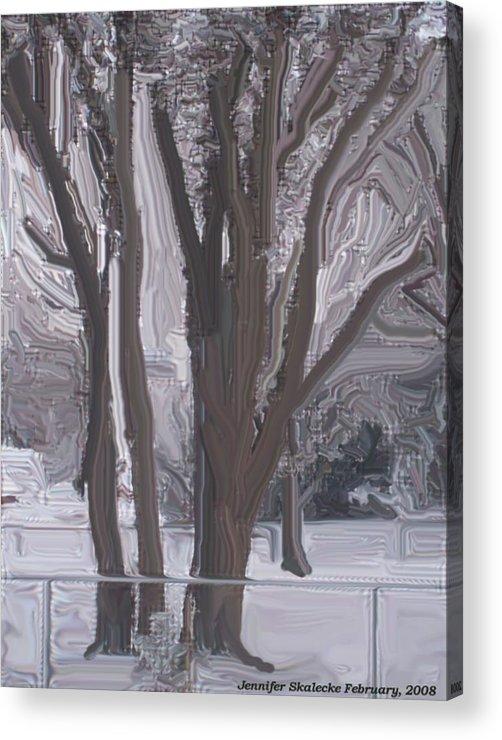 Landscape Acrylic Print featuring the digital art Winter Trees by Jennifer Skalecke