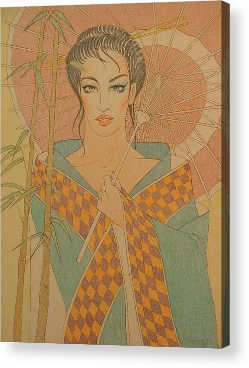 Female Acrylic Print featuring the painting Woman Under The Bamboo Umbrella by Gary Kaemmer