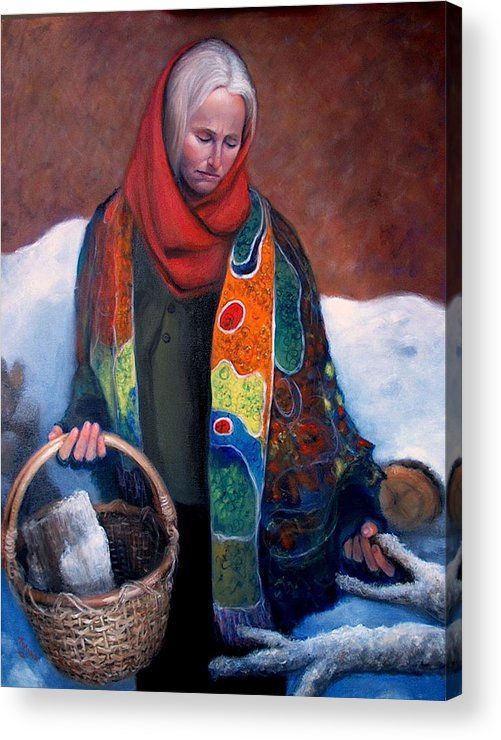 Realism Acrylic Print featuring the painting Woodgatherer by Donelli DiMaria