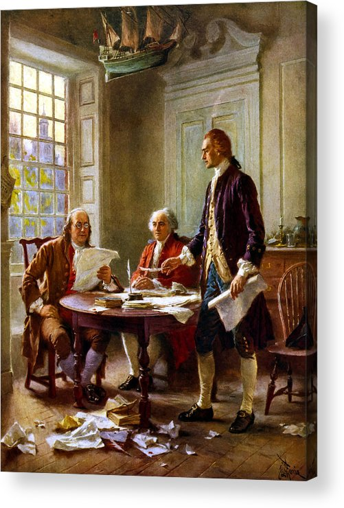 Declaration Of Independence Acrylic Print featuring the painting Writing The Declaration Of Independence by War Is Hell Store