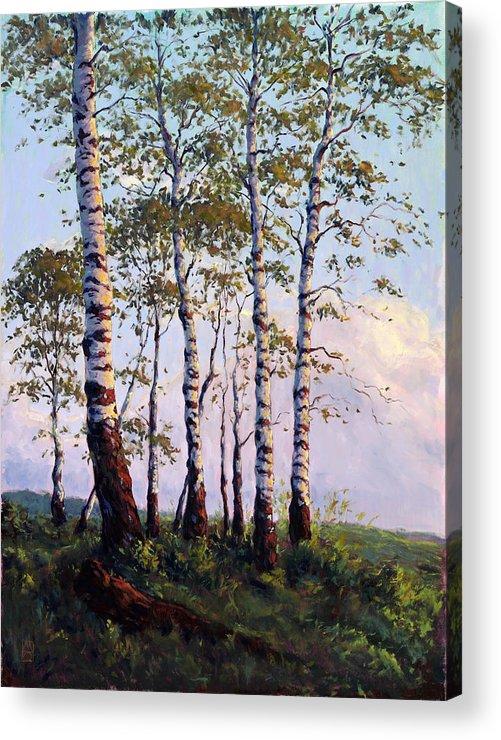 Birch Tree Acrylic Print featuring the painting Yellow Stone Sunset by Michael Orwick