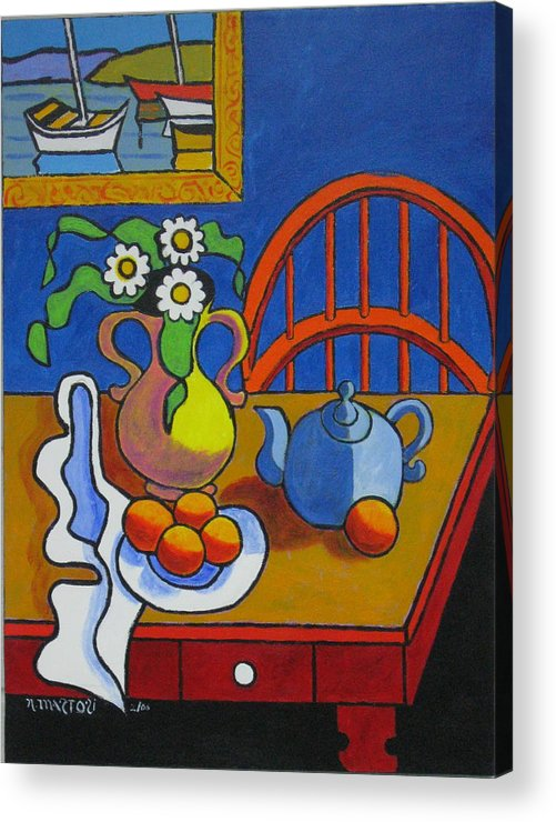 Teapot Acrylic Print featuring the painting Yellow Vase With Blue Teapot by Nicholas Martori