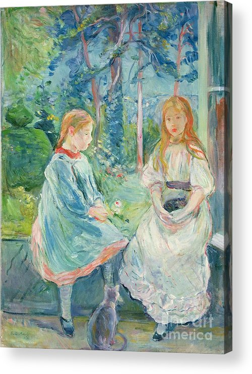 Young Acrylic Print featuring the painting Young Girls At The Window by Berthe Morisot