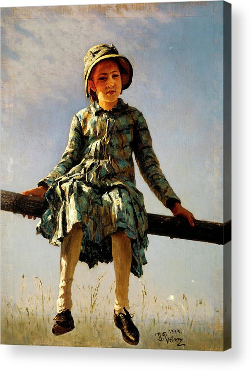 Dragonfly Acrylic Print featuring the painting Dragonfly, Painter's Daughter Portrait by Ilya Repin