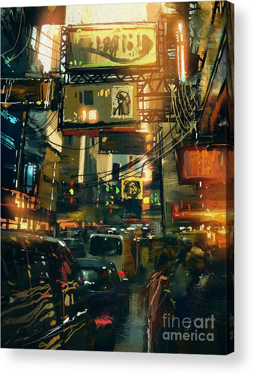 Fi Acrylic Print featuring the digital art Colorful Painting Of Shopping Street In by Tithi Luadthong