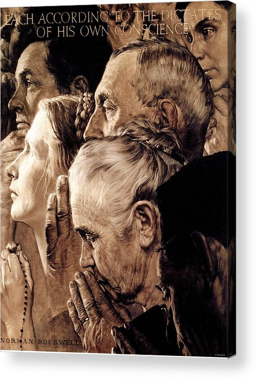 Praying Acrylic Print featuring the drawing Freedom Of Worship by Norman Rockwell