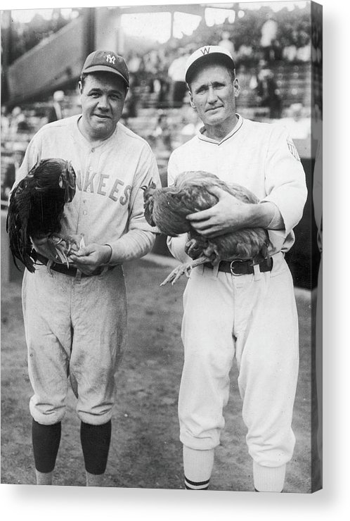 Baseball Cap Acrylic Print featuring the photograph Ruth, Johnson, & A Pair Of Chickens by Fpg