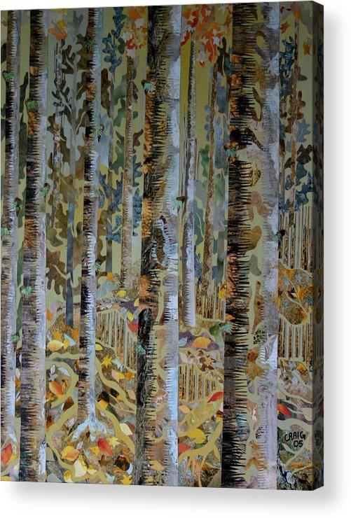 Poplars Acrylic Print featuring the mixed media Deep Woods by Bob Craig