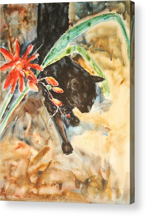 Cat Flower Acrylic Print featuring the painting Panther With Passion Flower by Helen Hickey