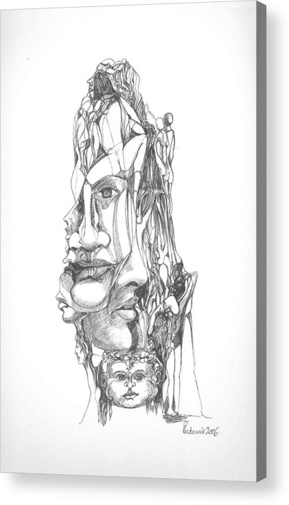Surreal Acrylic Print featuring the drawing In Your Head by Padamvir Singh