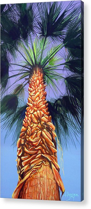Palm Tree In Palm Springs California Acrylic Print featuring the painting Holding Onto The Earth by Hunter Jay