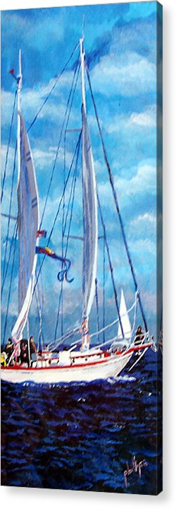 Sailboat Acrylic Print featuring the painting Profile Of A Sailboat by Jim Phillips