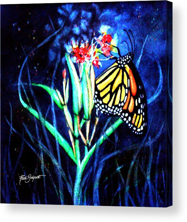 Watercolor Acrylic Print featuring the painting Butterfly At Work by Ruth Bodycott