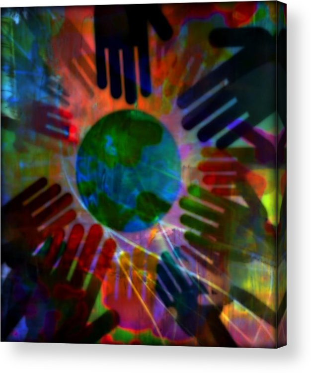 Peace Acrylic Print featuring the mixed media Heal The World by Wendie Busig-Kohn