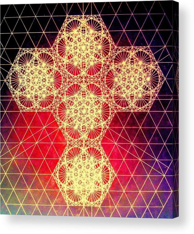 Cross Acrylic Print featuring the drawing Quantum Cross Hand Drawn by Jason Padgett