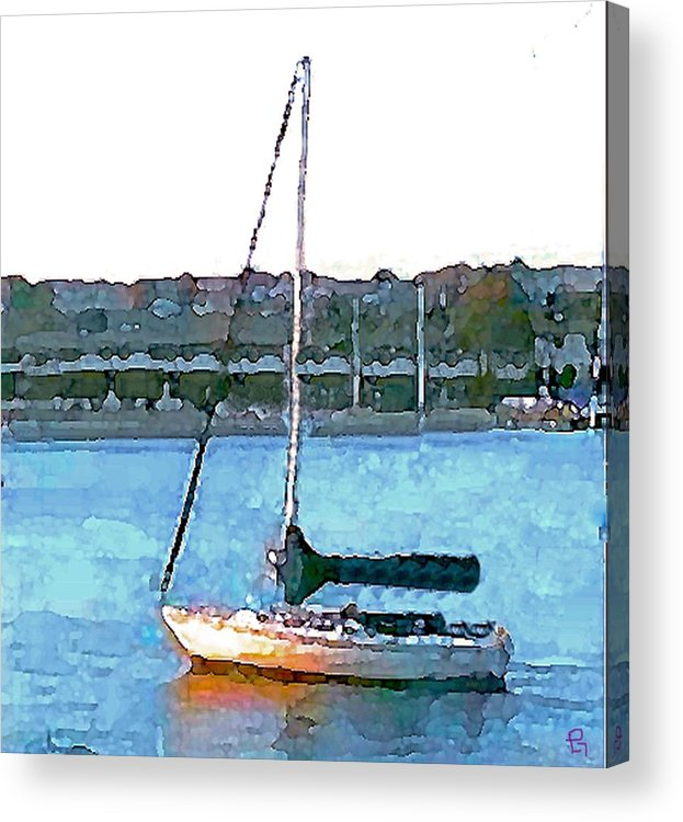 Sailboat Acrylic Print featuring the painting Sailing by Paula Greenlee