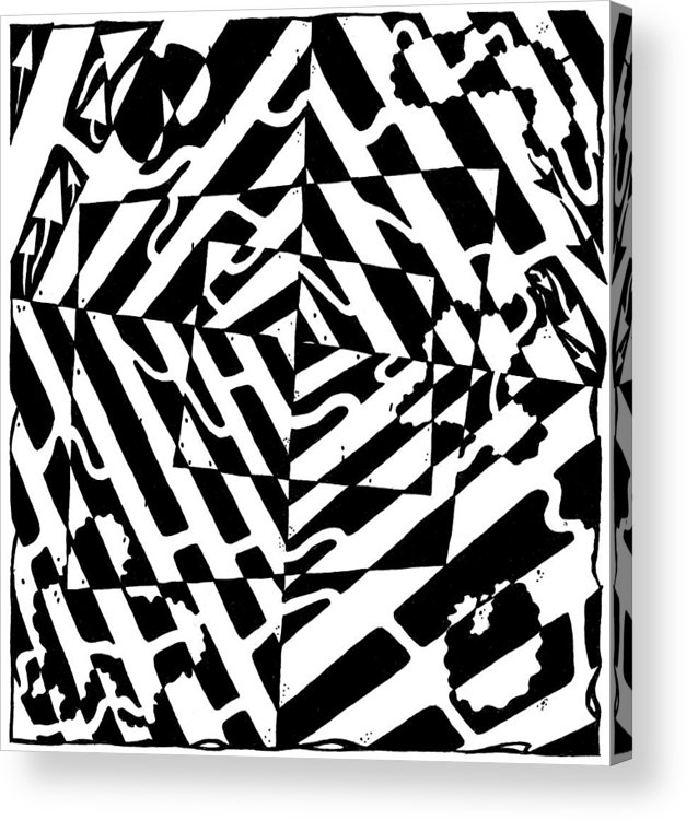 Chaos Acrylic Print featuring the painting Chaos Maze Optical Illusion by Yonatan Frimer Maze Artist